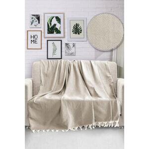 Béžový bavlněný přehoz přes postel Viaden HN,170x230cm