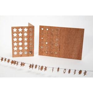 Dřevěná pohlednice Formes Berlin s 24 hvězdičkami, 14,8 x 10,5 cm