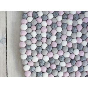 Světle růžovo-šedý kuličkový vlněný koberec Wooldot Ball Rugs, ⌀ 90 cm
