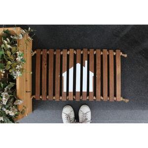 Dřevěná rohožka Doormat Woodie, 64 x 40 cm