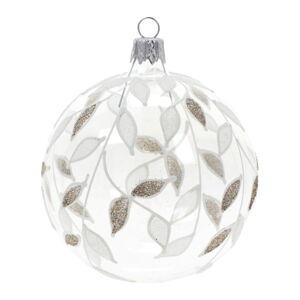 Sada 3 skleněných vánočních ozdob v bílo-zlaté barvě Ego Dekor