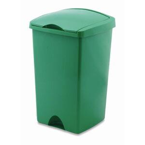Zelený odpadkový koš s víkem Addis Lift, 50 l