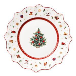 Bílo-červený porcelánový vánoční talíř Toy's Delight Villeroy&Boch, ø 29 cm