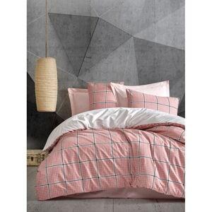 Růžové povlečení na jednolůžko z ranforce bavlny Cotton Box Ronny,160x240cm