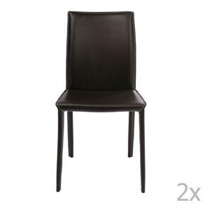 Sada 2 tmavě hnědých jídelních židlí Kare Design Milano
