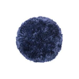 Tmavě modrý koberec z ovčí kožešiny Royal Dream Zealand,⌀ 70cm