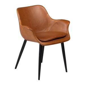 Hnědá jídelní židle z eko kůže s područkami DAN–FORM Denmark Combino