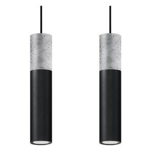 Černo-šedé závěsné svítidlo Nice Lamps Edo,délka34cm