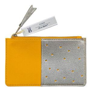 Žlutá peněženka s kapsou ve stříbrné barvě Busy B Flight