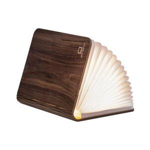 Tmavě hnědá velká LED stolní lampa ve tvaru knihy z ořechového dřeva Gingko Booklight