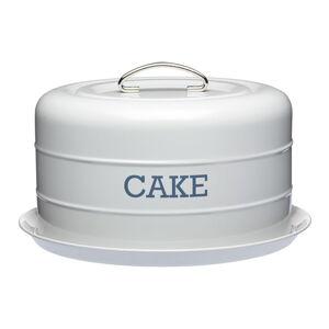 Šedá plechová dóza na koláč Kitchen Craft Nostalgia,⌀28,5cm