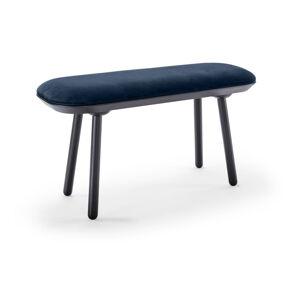 Modro-černá sametová lavice EMKO Naïve,100cm