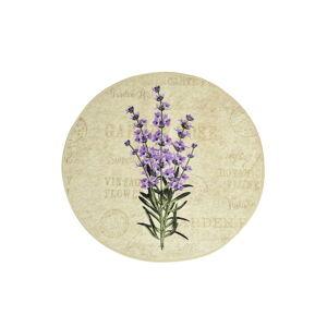 Koupelnová předložka s motivem fialových květin Chilai Violet Circle, ø 100 cm