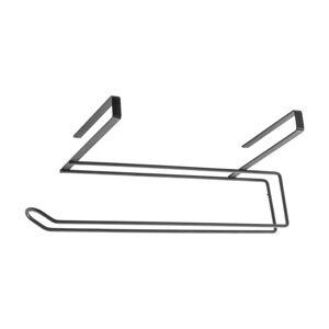 Černý závěsný držák na kuchyňské utěrky Metaltex