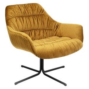 Medově žluté sametové křeslo Kare Design Bristol