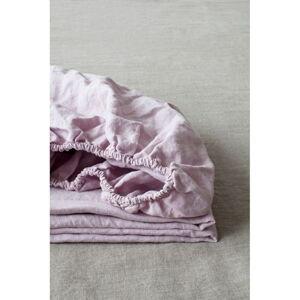 Levandulově fialové lněné elastické prostěradlo Linen Tales, 90 x 200 cm