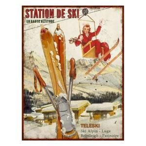 Dekorativní kovová cedule Antic Line Station de Ski, 25 x 33 cm