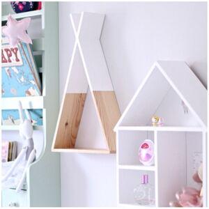 Bílá dřevěná nástěnná polička North Carolina Scandinavian Home Decors Teepee, výška 45 cm