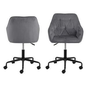 Šedá kancelářská židle se sametovým povrchem Actona Brooke