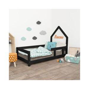 Černá dětská postel domeček s pravou bočnicí Benlemi Poppi, 80 x 180 cm