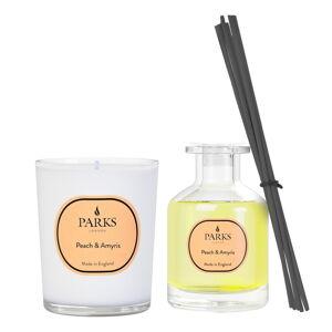 Sada svíčky a vonného difuzéru s vůní broskve a Amyris, Parks Candles London, intenzitavůně4 týdny
