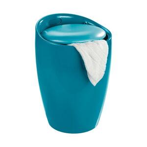 Modrý koš na prádlo a taburetka v jednom Wenko Candy Look, 20l