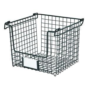 Černý kovový košík iDesign Classico, 25,5x25,5cm