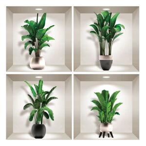 Sada 4 3D samolepek na zeď Ambiance Exotic Palm Leaves