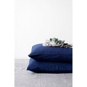Námořnicky modrý lněný povlak na polštář Linen Tales, 70 x 90 cm