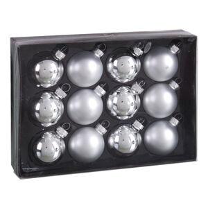 Sada 12 vánočních ozdob ve stříbrné barvě Unimasa Brightness