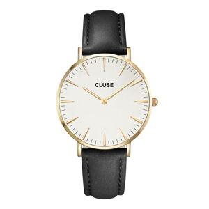 Dámské hodinky s černým koženým řemínkem a detaily ve zlaté barvě Cluse La Bohéme