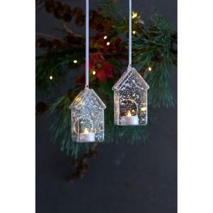 Sada 2 světelných LED dekorací Sirius Romantic House, výška 13 cm