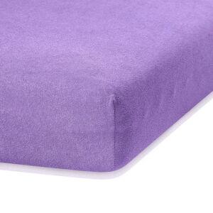 Fialové elastické prostěradlo s vysokým podílem bavlny AmeliaHome Ruby, 120/140 x 200 cm