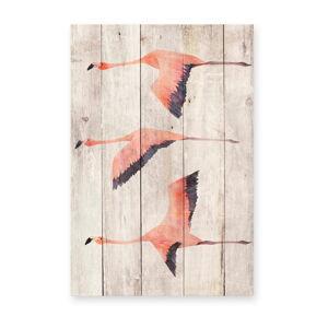 Nástěnná dekorace z borovicového dřeva Madre Selva Flying Flamingo, 60 x 40 cm