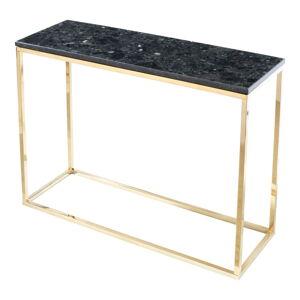 Černý žulový konzolový stolek s podnožím ve zlaté barvě, délka 100 cm