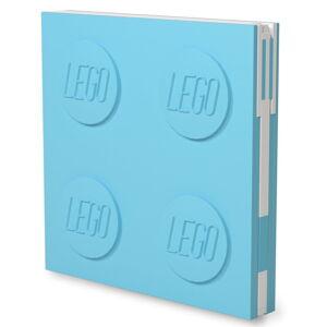 Tyrkysový čtvercový zápisník s gelovým perem LEGO®, 15,9 x 15,9 cm