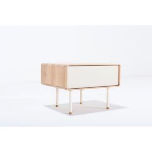 Bílý noční stolek z dubového dřeva Gazzda Mushroom