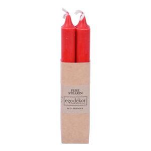 Sada 4 červených dlouhých svíček Ego Dekor ED,doba hoření 7 h