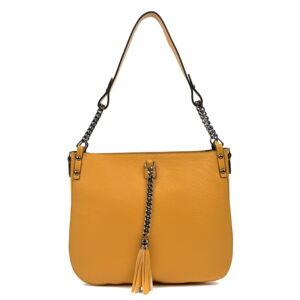 Žlutá kožená kabelka Carla Ferreri, 30 x 35 cm