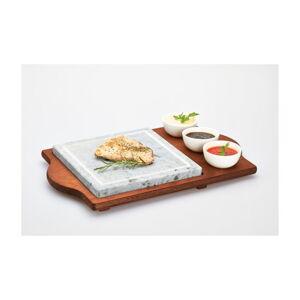 Servírovací podnos s kamennou deskou a miskami Bisetti Stone Plate, 48x30 cm