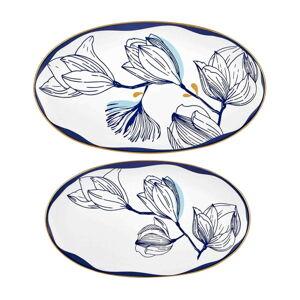 Sada 2 bílých porcelánových talířů s modrými květy Mia Bleu