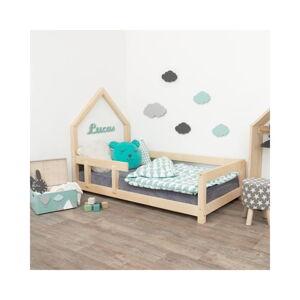 Dřevěná dětská postel domeček s levou bočnicí Benlemi Poppi, 80 x 180 cm