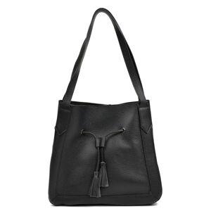 Černá kožená kabelka se střapcem Roberta M