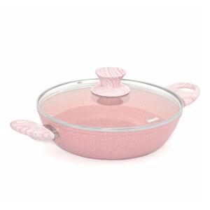 Růžový hrnec s pokličkou Bisetti Stonerose Tegame,ø24cm