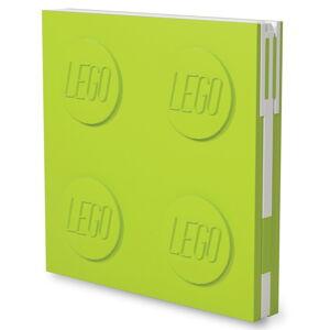Světle zelený čtvercový zápisník s gelovým perem LEGO®, 15,9 x 15,9 cm