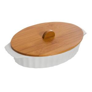 Porcelánová zapékací mísa s víkem z bambusového dřeva Bambum