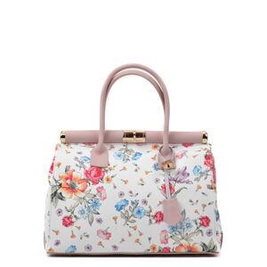 Růžovo-bílá kožená kabelka s květinovým motivem Renata Corsi