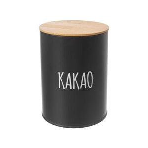 Černá plechová dóza na kakao s bambusovým víkem Orion, objem 1,3 l