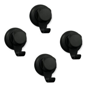 Sada 4 černých samodržících nástěnných háčků Compactor Bestlock Black Big Hooks, ⌀ 7,1 cm
