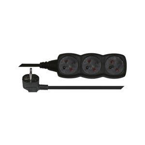 Černý prodlužovací kabel se 3 zásuvkami EMOS, 3m
